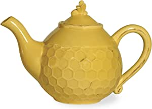 Boston International Honeycomb Ceramic Teapot, Honey