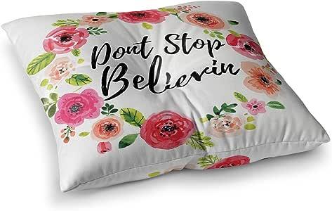 "KESS InHouse KESS 原创""Don't Stop Believin""珊瑚色白色方形地板枕 多种颜色 26"" x 26"" KIH249ASF02"