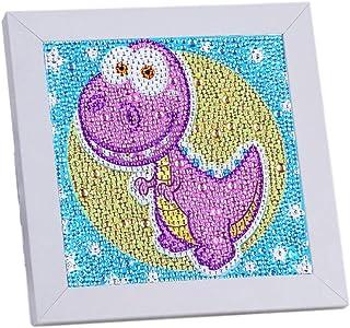 VVEEWUU Easy 5D 钻石绘画套装带框架儿童全钻画数字套件儿童礼品(恐龙)