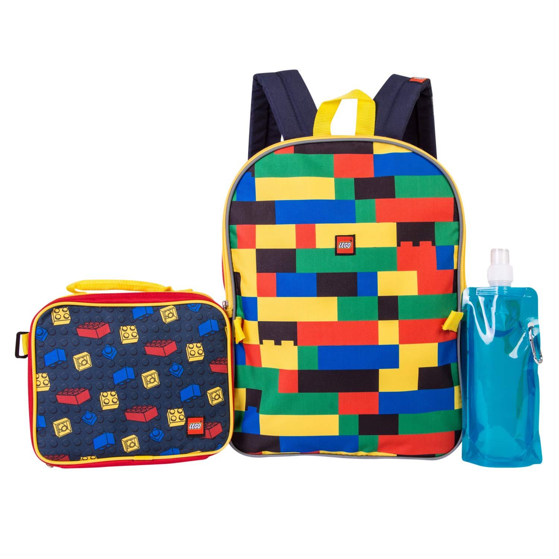 LEGO 乐高蝙蝠侠背包组合套装 - 乐高男孩 4 件背包 - 背包和午餐包