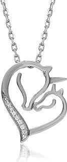 TJD 10K 白金 0.03 克拉(HI 颜色,I3 净度)女式独角兽心形钻石吊坠