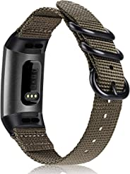 Fintie 指环 Fitbit Charge 3 软编织尼龙运动带替换带,适用于 Fitbit Charge 3 和 Charge 3 SE 健身活动追踪器女士男士(沙漠棕褐色)