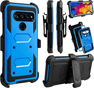 Venoro LG V40 手机壳,LG V40 ThinQ 手机壳,重型防震全机壳带旋转皮带夹和支架兼容 LG V40/LG V40 ThinQ 蓝色