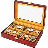 Homfa 木制手表盒,10格复古手表展示收纳盒,多功能方便的展示和装饰收纳架,表壳玻璃顶部带金属锁,樱桃色