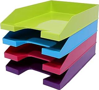 4 x A4 可堆叠字母托盘 * 粉色 蓝色 紫色