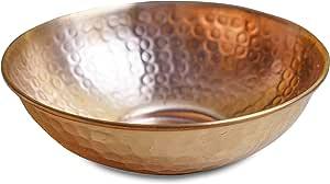 "GoCraft 纯铜碗,锤锻表面,适用于沙拉、鸡蛋、装饰和厨房用具 铜金 Small (5"")"