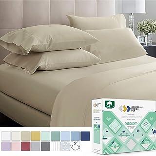 California Design Den 600 支*佳床单 * 纯棉床单套装 - 床用长纤维棉床单 4 件套带深口袋 灰褐色 Queen