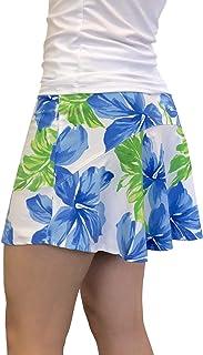 Smash Dandy 白色和蓝色花卉印花飘逸高尔夫裙