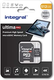 Integral UltimaPro X 32 GB microSDHC 超高速 Class 10 内存卡,U3 等级INMSDX512G-100/80V30 100 MB/s U3 V30 512GB