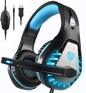 Butfulake 专业立体声游戏耳机,适用于 Xbox One、Xbox One S、PS4、PC、任天堂切换、Mac、笔记本电脑、电脑、3.5mm 有线头戴式游戏耳机带 LED 灯和降噪麦克风,蓝色
