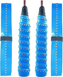 质量 Yes QY 2 件装加宽穿孔*吸收网球拍覆盖防滑羽毛球拍拍拍胶带网球拍带(双色蓝色)