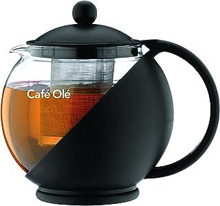 Café ole 日常圆茶壶茶壶篮玻璃茶壶散装茶叶,黑色,750ml / 0.75升