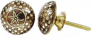 金属金色圆形家具旋钮黄铜抽屉拉式橱柜把手 2 件