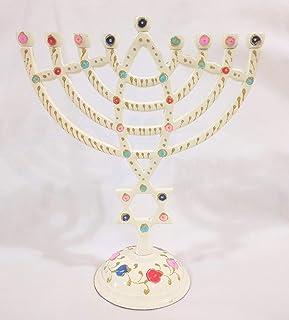 优质 Judaica 现代手绘 Menorah 多色设计,铝