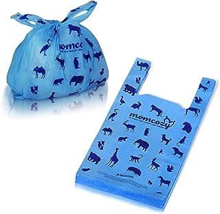 Momcozy 婴儿一次性尿布袋,* 生物降解尿布袋,耐用无味便携式一次性垃圾袋分配器,适用于脏尿布、宠物垃圾、水果皮、食物碎屑 蓝色 单一尺寸