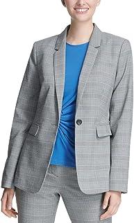 DKNY 女式格子西装单扣西装外套 灰色 6 码