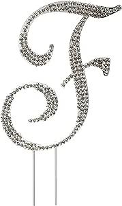 水钻水晶蛋糕装饰银,数字,婚礼字母,生日,周年纪念,派对。 闪亮耀眼。 优质犀牛。 亚马逊*好的优惠。 字母 F unknown
