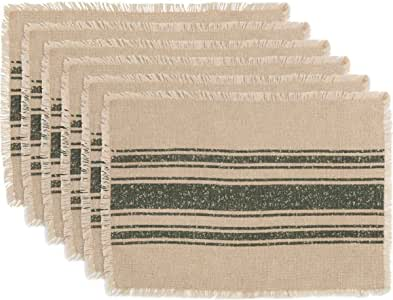 VHC Brands 假日桌面和厨房-圣诞饼餐垫 6 件套 Vintage Burlap Stripe Green 12 x 18 Oval 42448