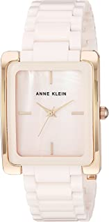 Anne Klein 女士AK / 2952LPRG玫瑰金色调和浅粉色陶瓷手链手表