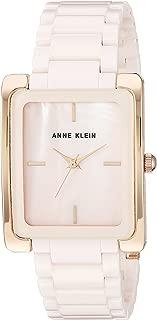 Anne Klein 女士 AK/2952LPRG 玫瑰金和浅粉色陶瓷手镯手表