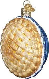 Old World 圣诞节玻璃吹制装饰品带 S 形挂钩和礼品盒,甜美系列 Apple Pie 32343