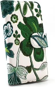 Whitenuts 手机保护壳 翻盖式 花朵刺绣印花 绿色 19_ MEDIAS NEC-102