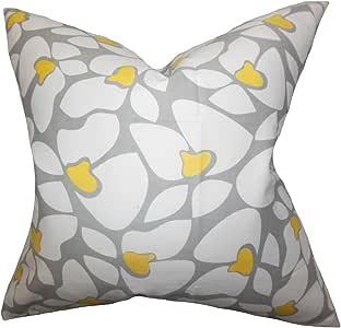 "The Pillow Collection Zaza 几何欧式枕套灰色 灰色 King/20"" x 36"" KING-PP-HELEN-STORM_CORNYELLOW-"
