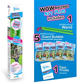 WOWmazing Giant Bubbles Kit Plus - GREAT VALUE - Big bubbles kit including Big Bubble Wand and Giant Bubble Solution Conce...