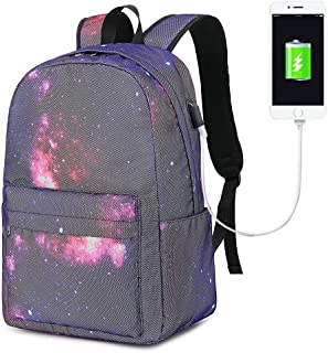 女孩女士大学笔记本电脑背包学校书包旅行帆布背包书包带USB 充电端口,适合高中 E0084-Red
