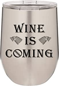 Wine Is Coming | 340.19 克不锈钢不锈钢不锈钢不锈钢不锈钢不锈钢不锈钢不锈钢不锈钢杯带盖| 双层真空保温 | 送给女性的精美礼物 亮灰色