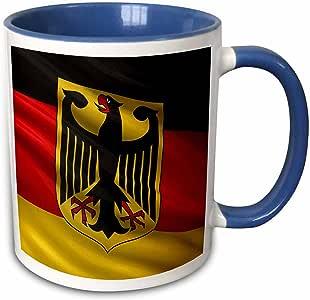 3drose carsten reisinger illustrations–插图–德国国旗与徽章–马克杯 蓝/白 11-oz Two-Tone Blue Mug