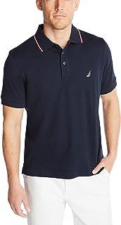 Nautica 男士经典修身短袖双翻领马球衫
