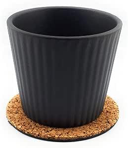 Plastec ECR04 Eco 10.16 厘米软木垫,带 10.16 厘米陶瓷花盆 适用于花朵/多肉植物 4 Inches ECR04