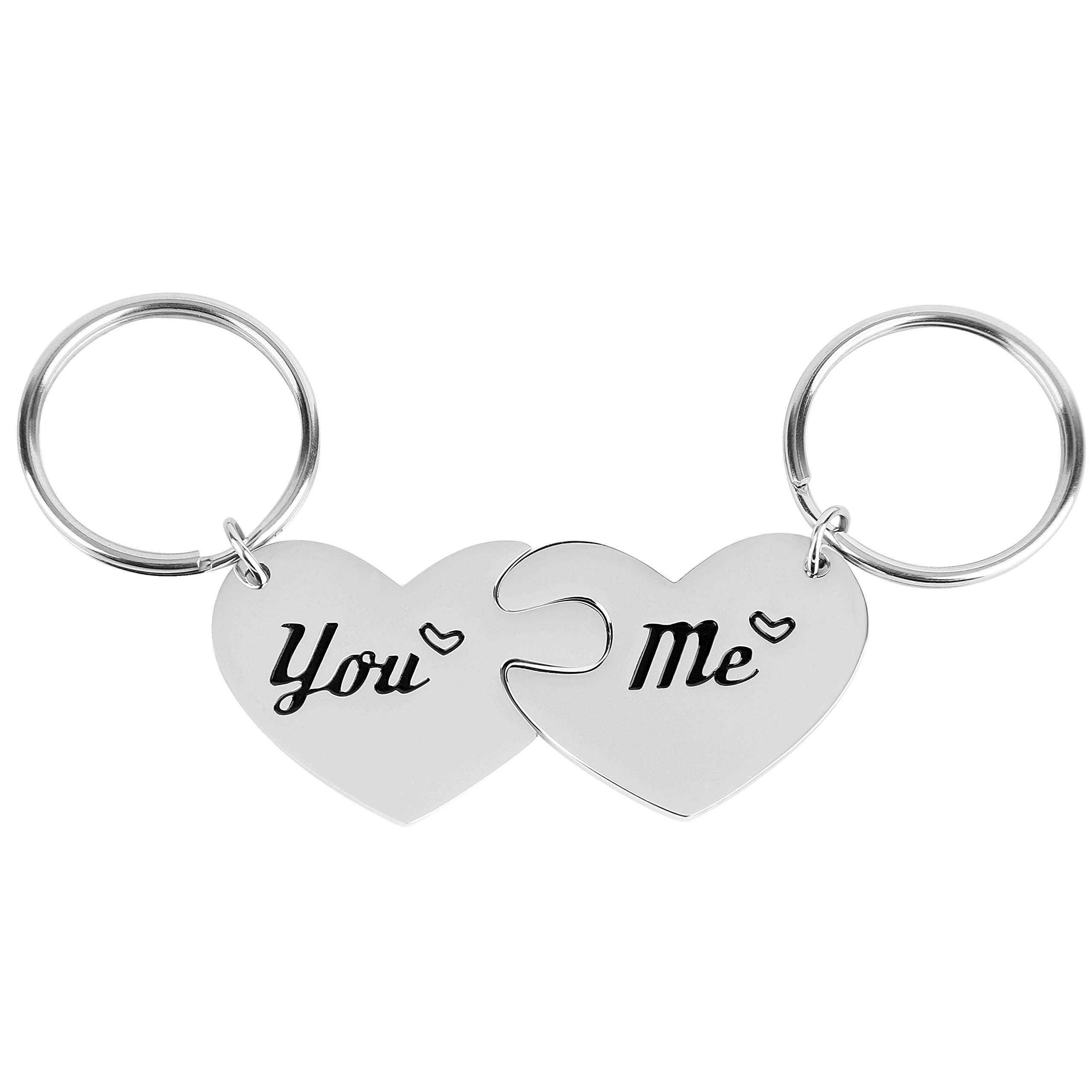 2 件情侣礼物 You & ME 情侣心形钥匙链环 钥匙链 情人节 生日 圣诞 周年纪念 送给丈夫 妻子 男朋友 女朋友