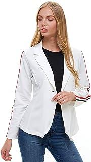 EXCUSE ME M?SS 女式外套 - 长袖开襟格子条纹印花休闲经典工作办公室夹克