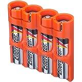 Powerpax Storacell SlimLine AAA 6 件装电池盒,橙色 Holds 4 Batteries SLAAA4pkORG