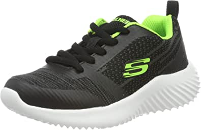 Skechers 斯凯奇 Bounder 男童运动鞋 Schwarz (Black & Blue Textile/Lime Trim Bblm) 27 EU