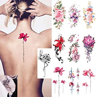 Ooopsi 10 张大号花纹临时纹身贴纸 - 女士女孩手臂腿肩或背部