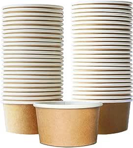 纸冰淇淋杯 - 一次性甜点碗,适用于热或冷食物,派对用品,Sundae、冰雪奇缘酸奶、汤 棕色 9 盎司