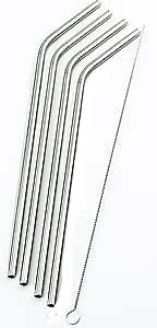4 个弯曲不锈钢吸管 适用于 Rocky Mountain 30 盎司双壁吸管真空杯 - CocoStraw 品牌饮用吸管电视 亮灰色 4 Bend Straws ONX-4ROCKY