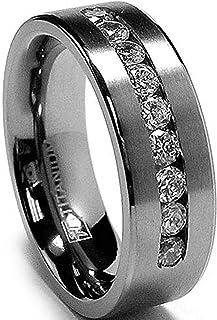 8 MM 男式钛戒指结婚戒指 9 大槽镶方晶锆石 CZ 尺寸 6 至 15