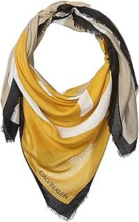 Calvin Klein 女士抽象CK标志拼色黄色和灰色*人造丝围巾,OCHRE,1 SZ