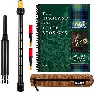 Barefoot Bagpiper 练习风管管管标准长度,18 英寸包括棕褐色手提箱2 个苏格兰高地风管教程书 1