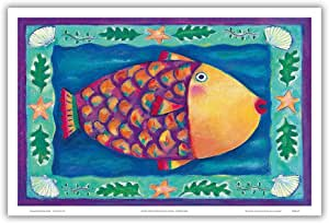 "Pacifica 岛艺术幽默努库帕阿法岛 - 夏威夷珊瑚礁触发鱼 - 夏威夷州鱼 - Deybra Faire 原创彩色画 - 夏威夷主艺术印制 12"" x 18"" PRTB502"