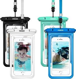 防水手机袋浮动,FONKEN 通用防水手机壳 4 件装手机干燥袋 IPX8 防水手机袋适用于 iPhone 11 Pro Max/XR /X/8P / 7P Galaxy S10/S9 Note 10/9 *大 6.8 英寸