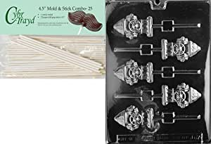 Cybrtrayd 45St25-J067 Fire Hydrant Lolly Jobs Chocolate Candy Mold with 25 Lollipop Sticks, 4.5-Inch