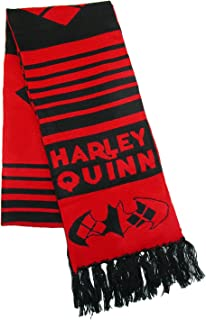 BioWorld 中性款针织 DC 漫画哈利·奎恩冬季围巾,红色