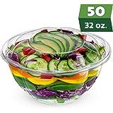 带盖沙拉碗(50 包) - 透明塑料一次性沙拉容器,清新、密封密封 - 玫瑰碗容器 透明 32 oz. 4335478466