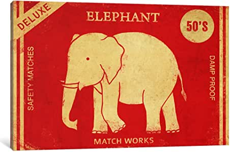 "iCanvasART Elephant Safety Matches Canvas Print by Terry Fan, 18 by 12""/1.5"" Deep"