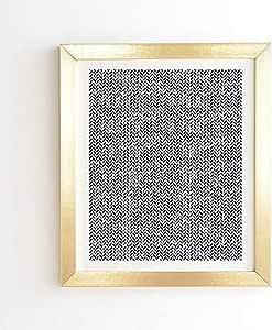 "Deny Designs 小箭设计 Co Arcadia 水彩人字呢靛蓝色帆布墙壁艺术 金色边框 19"" x 22.4"" 64623-frwa15"